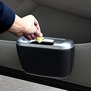 Zento Deals Portable Traveling Black Mini Trash Can