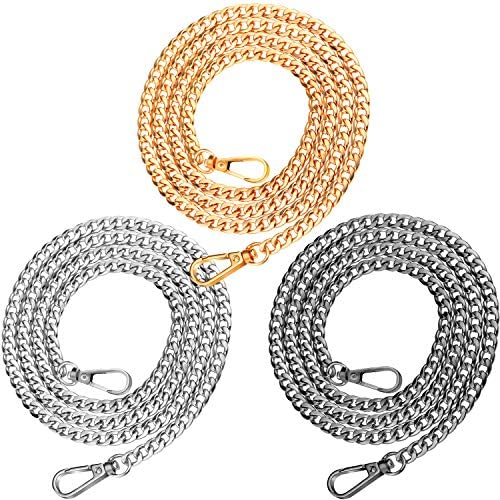 3 Pieces Handbag Chain Straps Bag Strap Replacement Metal Purse Clutches Handles in 15.7 Inches Length for Purse Handbags DIY Crafts