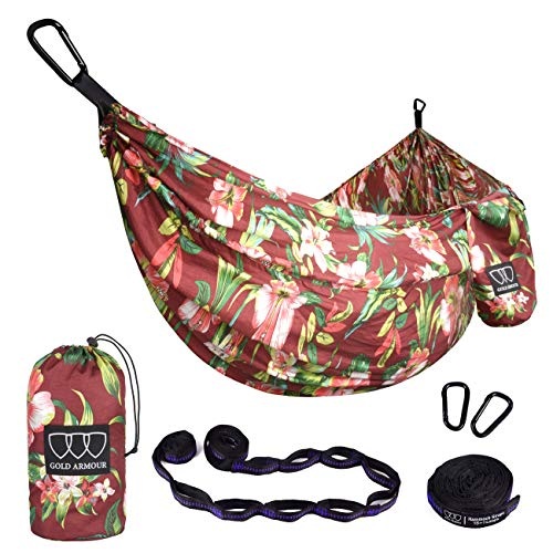 Gold Armour Camping Hammock - XL Double Parachute Hammock (2 Tree Straps 16 LOOPS/10 FT Included) USA Brand Lightweight Nylon Portable Mens Womens Kids, Best Camping Accessories Gear (Hawaii Red) (Hawaii Accessories)