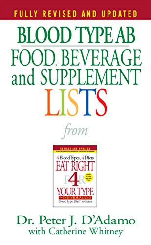 Blood Type AB Food, Beverage and Supplement Lists (Eat Right 4 Your Type) (Eat Right For Your Blood Type Ab Negative)