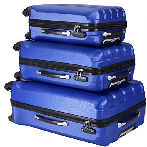 "JAXPETY 3PCS Luggage Set 4 wheel ABS Travel Storage Suitcase Bag w/TSA Lock , 20"" & 24″ & 28″ trolley case Box Blue"