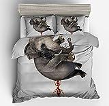 Magnificent Flying Elephant Cotton Microfiber 3pc 80''x90'' Bedding Quilt Duvet Cover Sets 2 Pillow Cases Full Size
