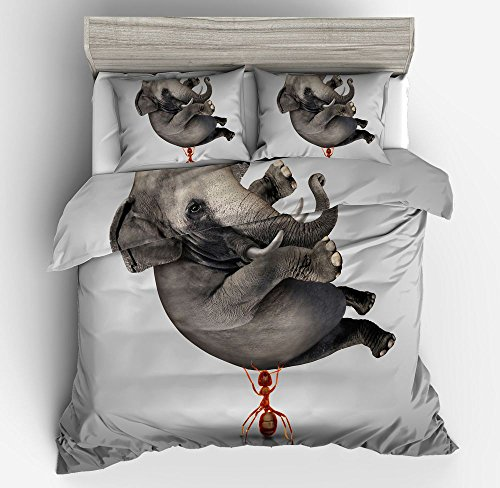 Magnificent Flying Elephant Cotton Microfiber 3pc 80''x90'' Bedding Quilt Duvet Cover Sets 2 Pillow Cases Full Size by DIY Duvetcover