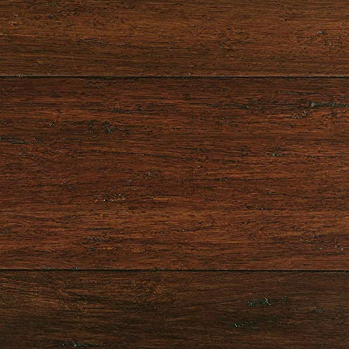 Hand Scraped Strand Woven Sahara 3/8 in. T x 5-1/5 in. W x 36.02 in. L Engineered Click Bamboo Flooring 26 Sq ft