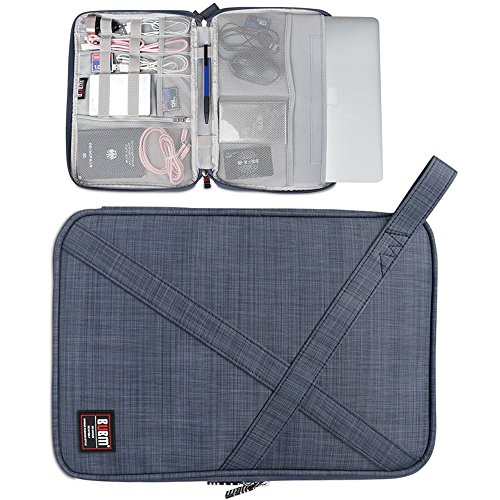 Laptop Sleeve For Surface Pro 5 4 3 - Macbook - With Multiple Organizer Pockets For Electronic Accessories - Gray