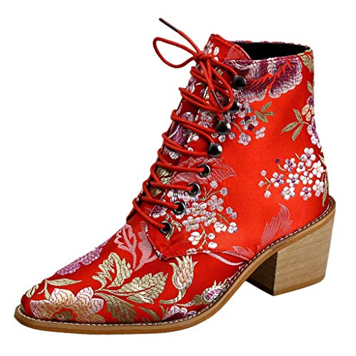 Aunimeifly Ladies Stylish Cloth Embroidery Ankle Boot Women's Short Boots Pointed Toe Lace-Up Mid Heels Shoe(US:6.5-7,Red) (Best Sites For Maternity Clothes)