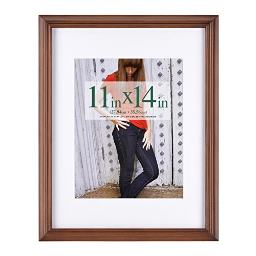 RPJC 11x14 inch Picture Frames Made of Solid Wood and High Definition Glass Display Pictures 8x10 with Mat or 11x14 Without Mat for Wall Mounting Photo Frame ()