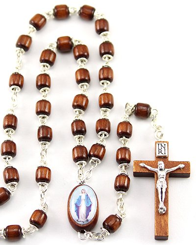 (Our Lady of Grace with Capped Wooden Beads Rosary)