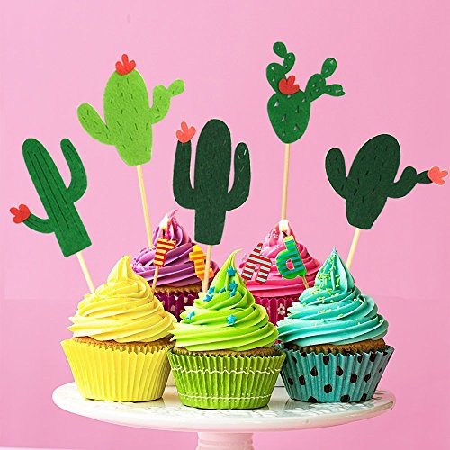 48 Pieces Cactus Cupcake Toppers Cupcake Picks and 1 Pack Cactus Banner for Fiesta West Cacti Theme Birthday Party Supplies Baby shower Decoration by Living Show (Image #2)'