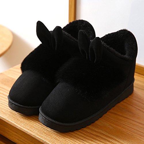 Inverno fankou pantofole di cotone femmina di fondo spesso della bella semi-bag con antiscivolo coppia home home pantofole in lana inverno maschio, 39 piccoli cantieri, nero