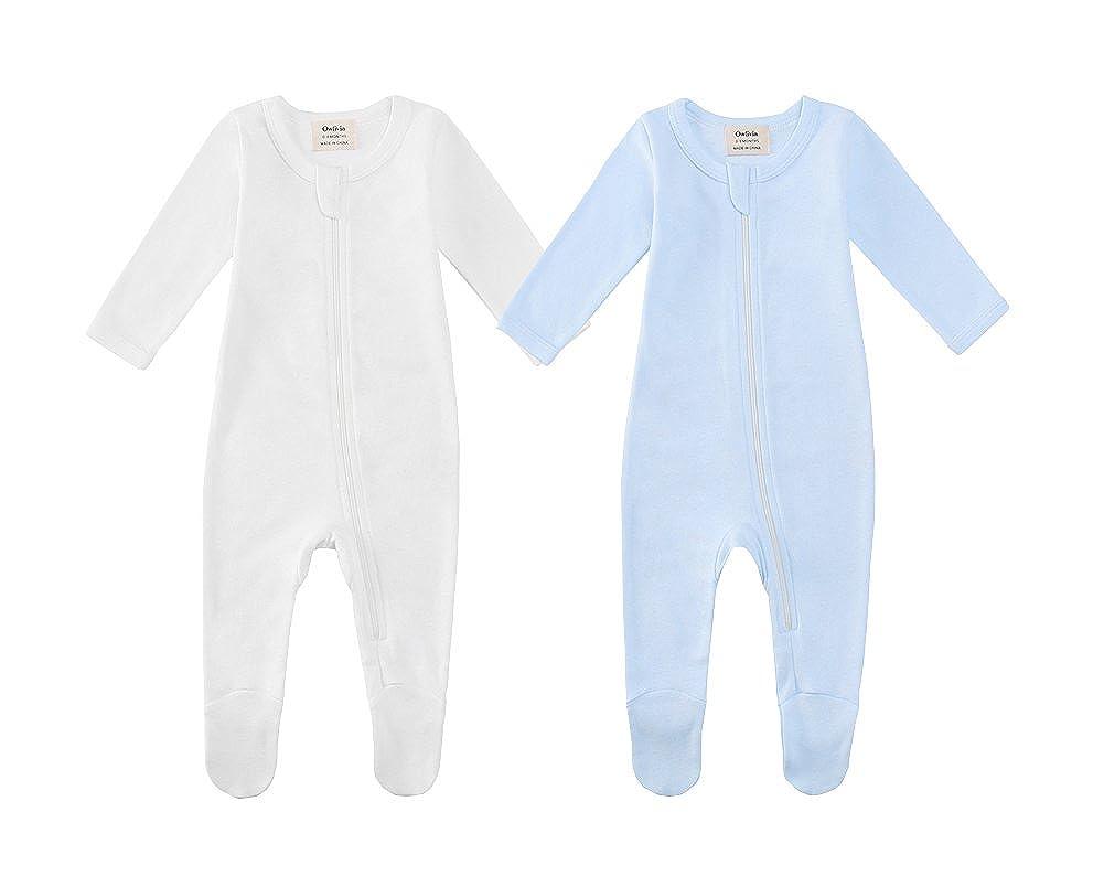 Owliviaオーガニックコットン赤ちゃん男の子女の子Zip Front Sleep ' Sleep n Play、Footed Sleeper 18月、ロングスリーブ(サイズ0 6 – 18月 B07DWV4XGT ホワイト+ブルー 3 - 6 Months 3 - 6 Months|ホワイト+ブルー, ウルトラゴルフ:dcb536aa --- itxassou.fr