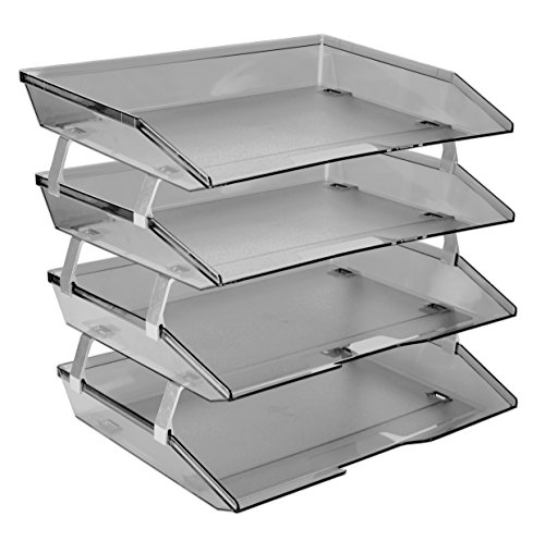 - Acrimet Facility 4 Tier Letter Tray Plastic Desktop File Organizer (Smoke Color)