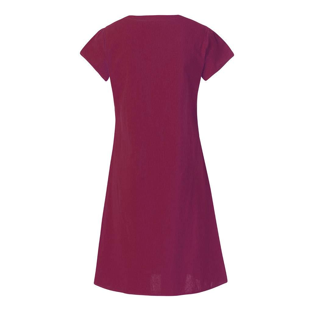 Women Knot Front Feminino Vestido T-Shirt Cotton Casual Plus SizeSpring Dresses