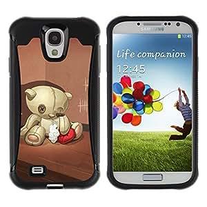 Paccase / Suave TPU GEL Caso Carcasa de Protección Funda para - Teddy Bear Sad Lonely Broken Heart Red - Samsung Galaxy S4 I9500