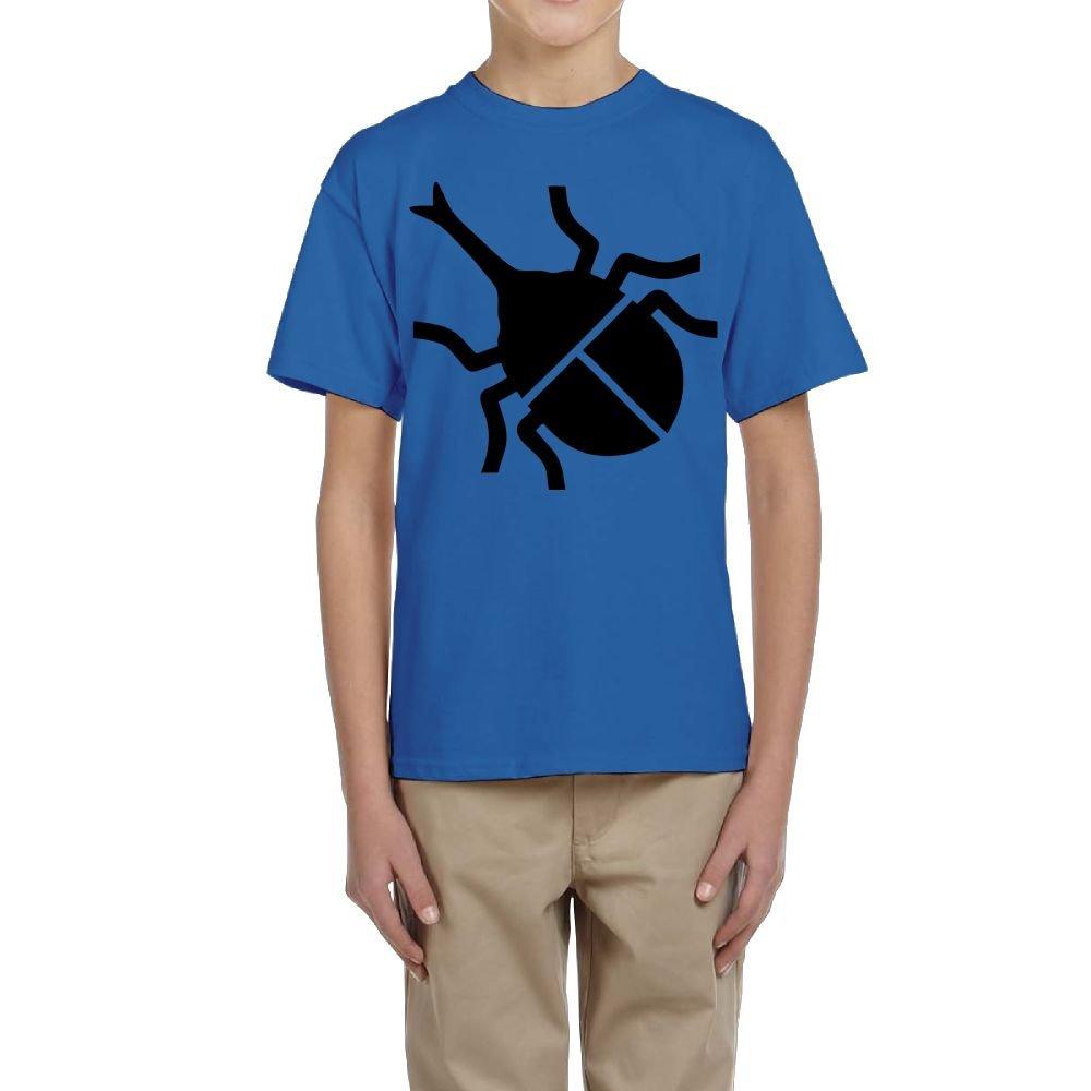 Fzjy Wnx Boys Short-Sleeved T-Shirts Crewneck Rhinoceros Beetle Black