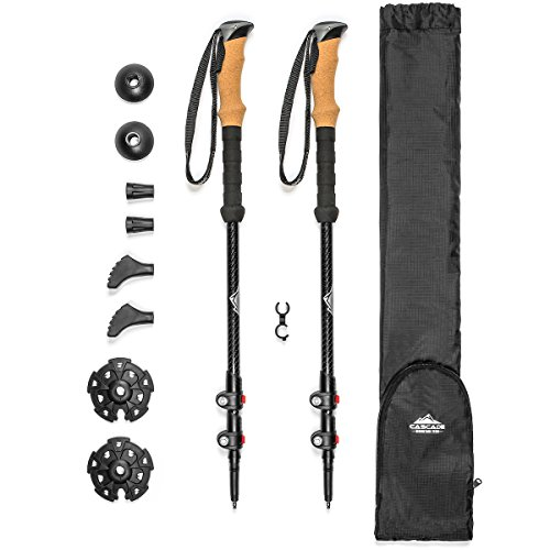 Trekking Poles Lock - Cascade Mountain Tech 3K Carbon Fiber Trekking Poles Ultralight with Cork Grip and Quick Lock