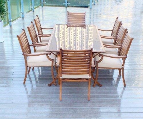 Pebble Lane Living 10pc Hand Painted Cast Aluminum Patio Furniture Set - Seats 8 (free umbrellla) ()