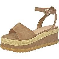 Fitfulvan - Zapatos de Plataforma para Mujer, Talla Grande, Estilo Europeo y Americano, con cuña y Paja, Zapatos Casuales