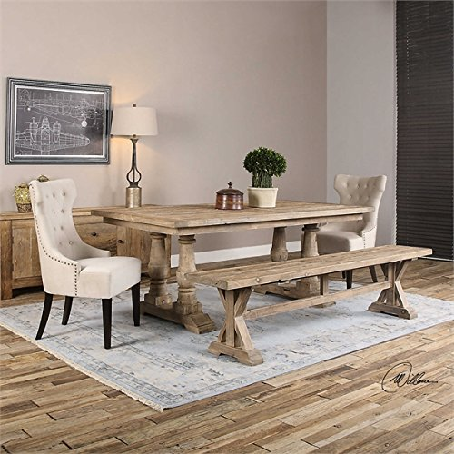 Ambient Solidly Constructed Of Salvaged Fir Lumber With A Carved Trestle Base Sun Faded And Distressed Patina Is Finished With A Stony Gray Wash Salvaged Wood Bench by Ambient
