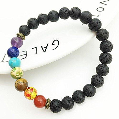 Doyeemei 7 Chakra Healing Bracelet Lava Beads Reiki Buddha Prayer Stone Bracciale per Uomo e Donna
