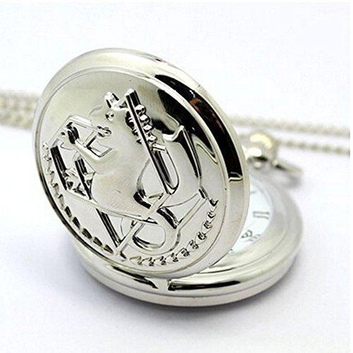 V-Vitoria Silver Retro Fullmetal Alchemist Edward Elric's Pocket (Metal Pocket Watch)
