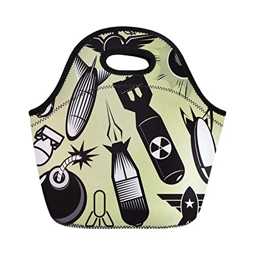 Semtomn Lunch Tote Bag Missile Bomb Collection Torpedo Radioactive Fuse Star Symbol Black Reusable Neoprene Insulated Thermal Outdoor Picnic Lunchbox for Men Women ()