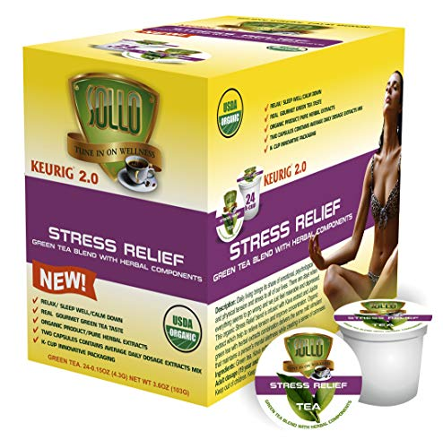 SOLLO Tea Pods Compatible With 2.0 K-Cup Keurig Brewers, Stress Relief, Calm Down, Sleep Well Green Tea With Herbals Extracts, 24 Count per Pack, Organic Certified by USDA