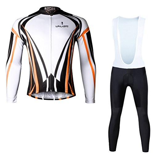 Paladinsport Autumn Men's Orange Long Sleeve Cycle Clothes And Bib Pants Set Size - Brand Clothing Liv