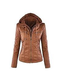 Viport Women's Faux Leather Tight Hooded Jacket Double Zippers Moto Biker Coat