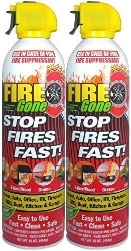 Fire Gone White/Red Fire Suppressant Canisters - 16 oz. (2 Units)