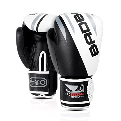 Bad Boy Pro Series Buffalo Leather Competition Boxing Gloves Black/White - 10 oz