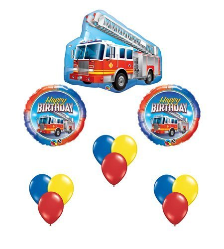 Fire Truck Red Engine Happy Birthday Balloon Bouquet Party Set 12 Mylar & Latex -