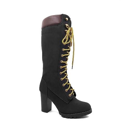 Angkorly - Zapatillas Moda Botas Botas Altas Botas Militares Street Rock Mujer Zapato Acolchado Tacón Ancho Alto 9 CM Ligeramente Forrada de Piel: ...