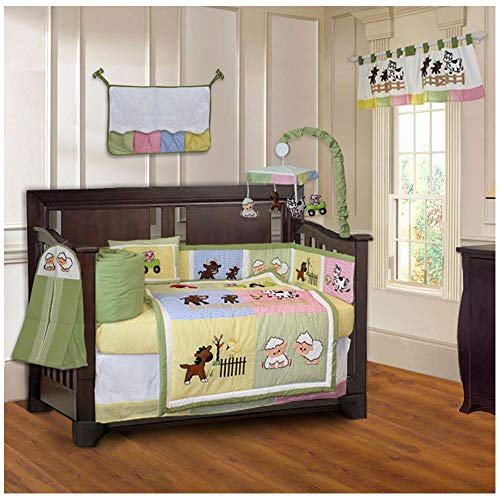 BabyFad Barnyard 10 Piece Baby Crib Bedding Set ()