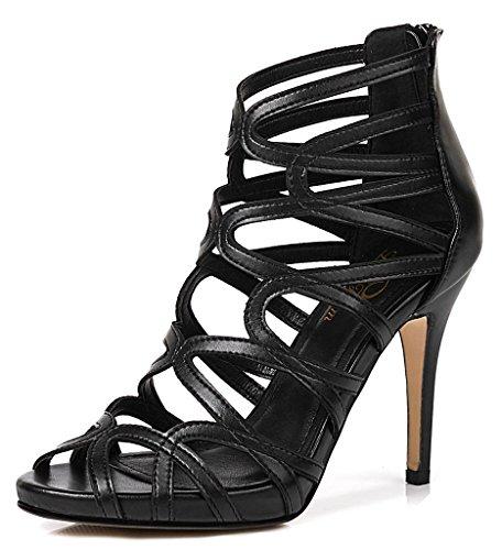 (LizForm Women Crisscrossed Platform Sandal Shoes Wedding Dress Pumps Strappy High Heel Shoes Black 7.5)