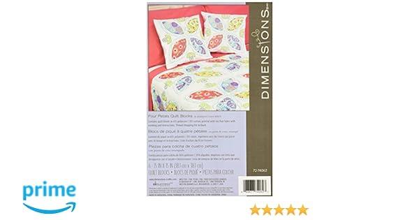 Dimensions Stamped Cross Stitch Kit Four Petal Quilt Blocks