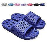 XUANHSU Bathroom Shower Shoe Mens Womens Indoor Slippers Non Slip Sandals Swimming Beach Water Shoes(US 9.5-10 Men/US 10.5-11 Women, Blue)