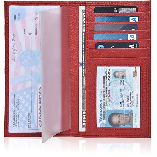 Leather Checkbook Cover Holder for Women and men - Standard Register Duplicate Checks RFID Card Slim Mens Wallet (Red Pebble)