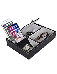 Arolly Gifts 10 Inch Black Leatherette Valet Tray