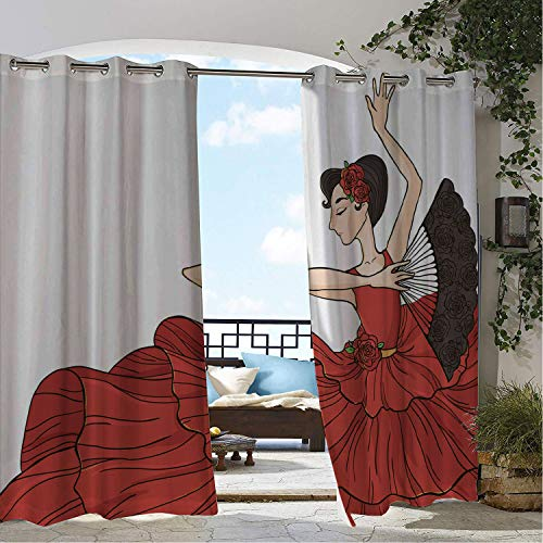 Linhomedecor Outdoor Waterproof Curtain Argentina A Woman in Red Dress Performing Flamenco Dance and Folding Fan Dark Coral Taupe Champagne pergola Grommet Party Curtain 108 by 72 inch