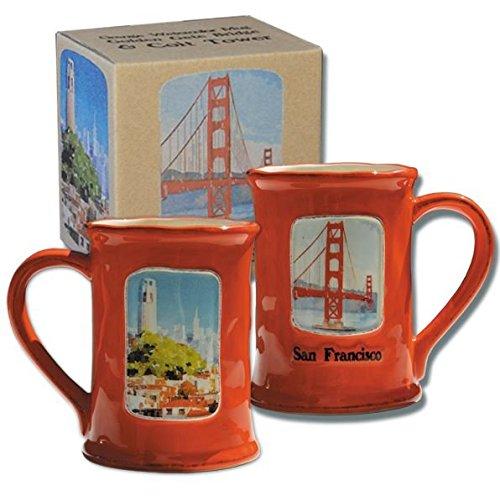 (Golden Gate Bridge and Coit Tower Watercolor Souvenir Mug)