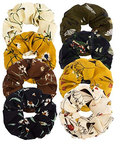 Ondder 5 Pack Large Chiffon Scrunchies Flower Hair Scrunchies Chiffon Scrunchies For Hair Ponytail Holder Bobbles Elastic Colorful Scrunchy Hair Bands Ties, Solid Color