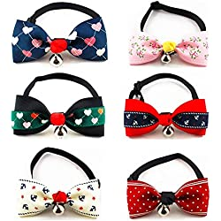 "PETFAVORITES™ Designer Fancy Pattern Dog Cat Pet Bow Tie Collar with Bell and Buckle for Small Dogs Cats Wedding Holiday Costume Accessories, Adjustable Size: 7.1""-11.8"", 6 Pack."