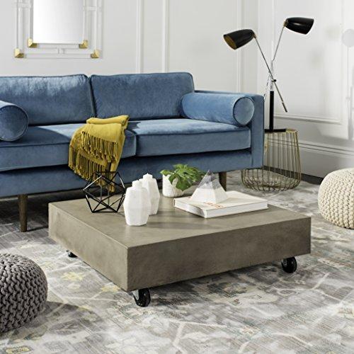 "Safavieh VNN1023A Collection Gargon Dark Grey Indoor/Outdoor Modern Concrete 9.84"" Casters Coffee Table"