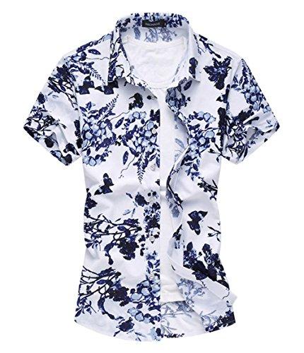 [スゴフィ]SGFY  メンズ ポロシャツ 和柄 半袖 花柄 カジュアル シャツ ゴルフ ウェア 輝いている青い花