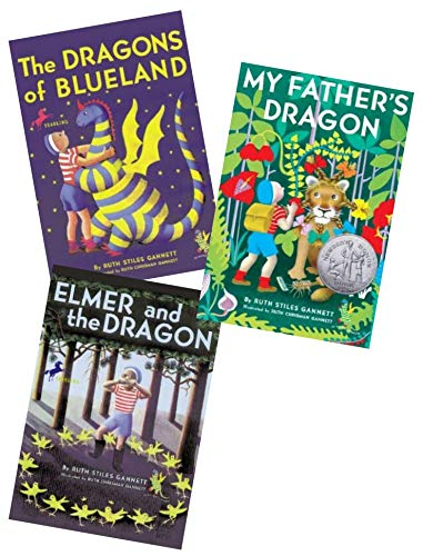 My Father's Dragon Set of 3 Paperback Books By Ruth Stiles Gannett, Illustrated By Ruth Chrisman Gannett Includes My Father's Dragon, the Dragons of Blueland & Elmer and the Dragon