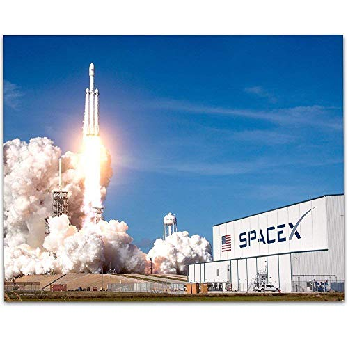 SpaceX Rocket Launch v2-11x14 Unframed Art Print - Great Gift Under $15 for Space Lovers/Geeks
