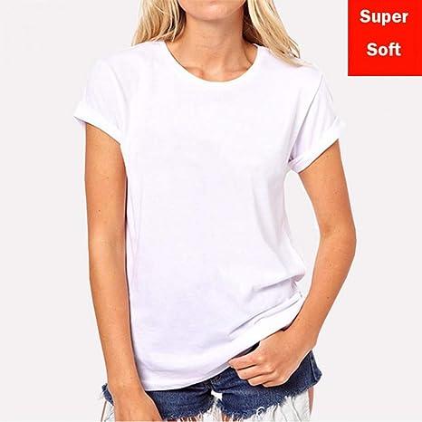 ZCYTIM Verano Super Suave Camiseta Blanca Mujer Manga Corta ...