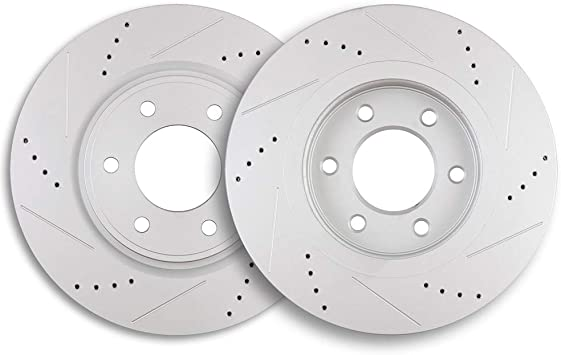 Titan Front Rear PowerSport Drilled Brake Rotors Fit 2011-2012 Nissan Armada