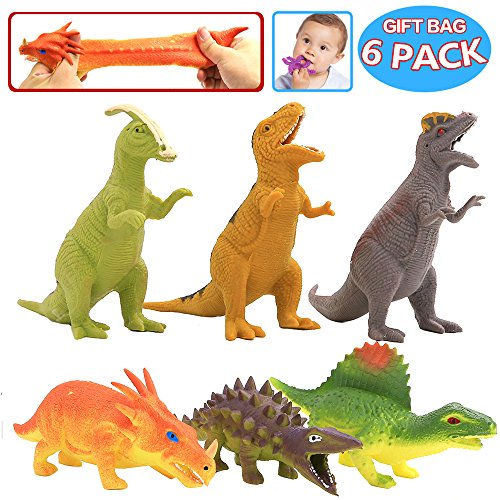 ValeforToy Dinosaur Toy,8 inch Rubber Dinosaur Set(6 Pack),Food Grade Material TPR Super Stretches,with Gift Bag and Learning Study Card, Realistic Dinosaur Figure Squishy Toy for Boy Kid Party Favor ()